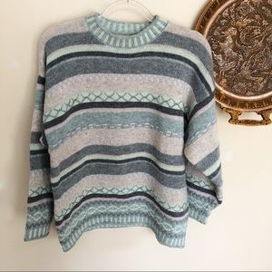 Vintage Benetton embroidered teal grey sweater